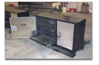 Custom Tool Box with checkered aluminum Saskatoon Metal Fabricators